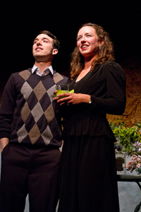 Pictured left to right: Ben Calabrese as Jim and Maryssa Wanlass as Diane in To Sleep and Dream by John Fisher; A Theatre Rhinoceros production at Z Below; Photo by Kent Taylor.