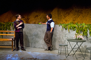 Pictured left to right: Ben Calabrese as Jim and Raúl Bencomo, Jr. as Everett in To Sleep and Dream by John Fisher; A Theatre Rhinoceros production at Z Below; Photo by Kent Taylor.