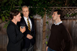 Pictured left to right: John Fisher as Paul; Maryssa Wanlass as Diane and Ben Calabrese as Jim in To Sleep and Dream by John Fisher; A Theatre Rhinoceros production at Z Below; Photo by Kent Taylor.