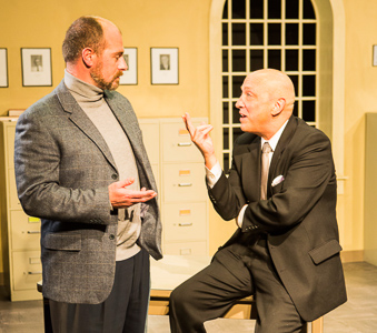 Patrick Ross (Ross) and Michael DeMartini (Smith) in BREAKING THE CODE by Hugh Whitemore. A Theatre Rhinoceros Production. Photo by David Wilson.