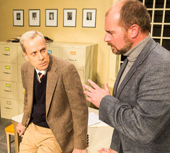 Pictured left to right: John Fisher (Turing) and Patrick Ross (Ross) in BREAKING THE CODE by Hugh Whitemore. A Theatre Rhinoceros Production. Photo by David Wilson.