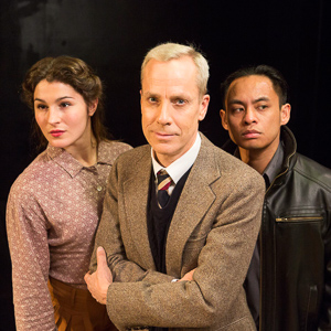 Pictured left to right: Kirsten Peacock (Pat), John Fisher (Turing), and Justin Lucas (Ron) in BREAKING THE CODE by Hugh Whitemore. A Theatre Rhinoceros Production. Photo by David Wilson.