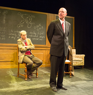 Pictured left to right: John Fisher as Turing, Michael DeMartini as Smith in Breaking the Code by Hugh Whitemore; A Theatre Rhinoceros production at the Eureka Theatre. Photo by David Wilson.