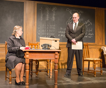 Pictured left to right: Celia Maurice as Sara, Patrick Ross as Ross in Breaking the Code by Hugh Whitemore; A Theatre Rhinoceros production at the Eureka Theatre. Photo by David Wilson.