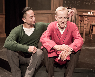 Pictured left to right: Justin Lucas as Ron and John Fisher as Turing in Breaking the Code by Hugh Whitemore; A Theatre Rhinoceros production at the Eureka Theatre. Photo by David Wilson.