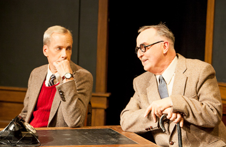Pictured left to right: John Fisher as Turing, Val Hendrickson as Knox in Breaking the Code by Hugh Whitemore; A Theatre Rhinoceros production at the Eureka Theatre. Photo by David Wilson.