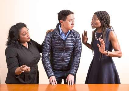 Pictured left to right: Alexaendrai Bond as Drea, Hawlan Ng as Peter, and Nkechi Emeruwa as Rebecca in THE CALL by Tanya Barfield; Directed by Jon Wai-keung Lowe; A Theatre Rhinoceros Production at the Eureka Theatre.