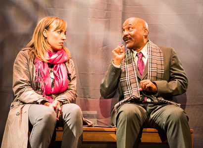 Pictured left to right: Melissa Keith as Annie and Darryl V. Jones* as Alemu in THE CALL by Tanya Barfield; Directed by Jon Wai-keung Lowe; A Theatre Rhinoceros Production at the Eureka Theatre. Photo by David Wilson.  *Member, Actors Equity Association