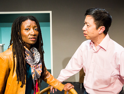 Pictured left to right: Nkechi Emeruwa as Rebecca and Hawlan Ng as Peter in THE CALL by Tanya Barfield; Directed by Jon Wai-keung Lowe; A Theatre Rhinoceros Production at the Eureka Theatre. Photo by David Wilson.