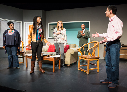 Pictured left to right: Alexaendrai Bond as Drea, Nkechi Emeruwa as Rebecca, Melissa Keith as Annie, Darryl V. Jones* as Alemu and Hawlan Ng as Peter in THE CALL by Tanya Barfield; Directed by Jon Wai-keung Lowe; A Theatre Rhinoceros Production at the Eureka Theatre. Photo by David Wilson.
