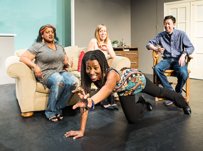Pictured left to right: Alexaendrai Bond as Drea, Nkechi Emeruwa as Rebecca, Melissa Keith as Annie and Hawlan Ng as Peter in THE CALL by Tanya Barfield; Directed by Jon Wai-keung Lowe; A Theatre Rhinoceros Production at the Eureka Theatre. Photo by David Wilson.