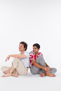 Pictured left to right: Aaron Wilton as August and Kayal Khanna as Kip in Something Cloudy, Something Clear by Tennessee Williams; Directed by John Fisher; a Theatre Rhinoceros production at the Eureka Theatre; Photo by Kent Taylor.