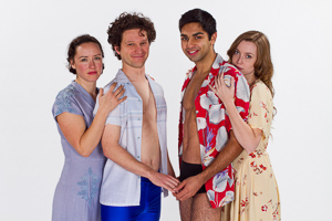 Pictured left to right:; Maryssa Wanlass as Hazel; Aaron Wilton as August; Kayal Khanna as Kip; and Gwen Kingston as Clare in Something Cloudy, Something Clear by Tennessee Williams; Directed by John Fisher; a Theatre Rhinoceros production at the Eureka Theatre; Photo by Kent Taylor.