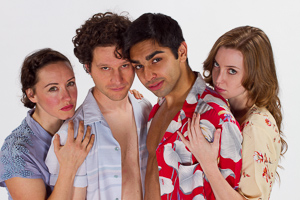 Pictured left to right: Maryssa Wanlass as Hazel; Aaron Wilton as August; Kayal Khanna as Kip; and Gwen Kingston as Clare in Something Cloudy, Something Clear by Tennessee Williams; Directed by John Fisher; a Theatre Rhinoceros production at the Eureka Theatre; Photo by Kent Taylor.