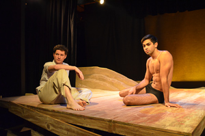 Photo #1: Left to right: Aaron Wilton as August and Kayal Khanna as Kip in Tennessee Williams' Something Cloudy, Something Clear directed by John Fisher; a Theatre Rhinoceros Production. Photo by Gilbert Johnson. Action: August and Kip have a negotiation of terms.