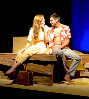 Gwen Kingston as Clare and Kayal Khanna as Kip in Tennessee Williams' Something Cloudy, Something Clear directed by John Fisher; a Theatre Rhinoceros Production. Photo by Gilbert Johnson. Action: Clare and Kip try to get their futures sorted out.