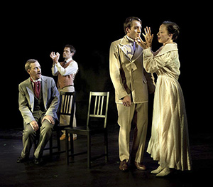 John Fisher as Lord Harry, Adam Simpson as James Vane, Aaron Martinsen as Dorian Gray, Maryssa Wanlass as Sybil Vane