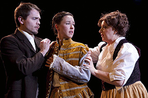 Adam Simpson as James Vane, Maryssa Wanlass as Sybil Vane, Celia Maurice as Mrs. Vane