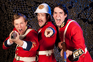 (Pictured left to right) Alex Lee as Tinmyn, William J. Brown III as General Hector MacDonald, Evan Bartz as Radclyff in Fighting Mac! by John Fisher; a Theatre Rhinoceros production at Thick House Theatre. Photo by Kent Taylor.