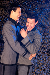 (Pictured left to right) Elijah Guo as Tom and Joshua Lomeli as Jesse in Fighting Mac! by John Fisher; a Theatre Rhinoceros production at Thick House Theatre. Photo by Kent Taylor.