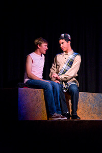 Erik Johnson as Daniel and Joshua Lomeli as Jesse in Fighting Mac! by John Fisher; a Theatre Rhinoceros production at Thick House; Photo by Kent Taylor.