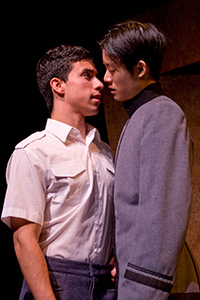 Elijah Guo as Tom and Joshua Lomeli as Jesse in Fighting Mac! by John Fisher; a Theatre Rhinoceros production at Thick House; Photo by Kent Taylor.