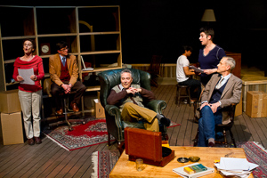Pictured left to right: Tamar Cohn as Kay, Craig Souza as Carpenter, Donald Currie as Auden, Justin Lucas as Stuart, Kathryn Wood as George, and John Fisher as Britten in The Habit of Art by Alan Bennett; directed by John Fisher; a Theatre Rhinoceros production at Z Below;