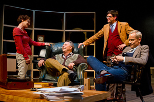 Pictured left to right: Tamar Cohn as Kay, Donald Currie as Auden, Craig Souza as Carpenter, and John Fisher as Britten in The Habit of Art by Alan Bennett; directed by John Fisher; a Theatre Rhinoceros production at Z Below;