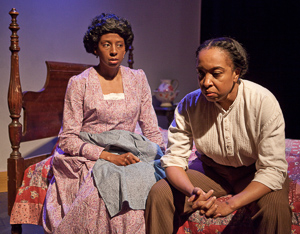 "Pictured left to right: Velina Brown as Miss Flora and Dawn L. Troupe as Biddie in ""A Lady and a Woman"" by Shirlene Holmes; Directed by John Fisher; A Theatre Rhinoceros Production; Photo by David Wilson."
