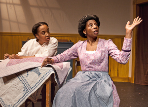 "Pictured left to right: Dawn L. Troupe as Biddie and Velina Brown as Miss Flora in ""A Lady and a Woman"" by Shirlene Holmes; Directed by John Fisher; A Theatre Rhinoceros Production; Photo by David Wilson."