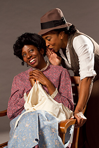 Pictured left to right: Velina Brown as Miss Flora and Dawn L. Troupe as Biddie in A Lady and a Woman by Shirlene Holmes.