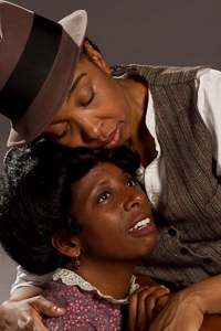 Pictured left to right: Velina Brown as Miss Flora and Dawn L. Troupe in A Lady and a Woman by Shirlene Holmes, directed by John Fisher; a Theatre Rhinoceros production at the Eureka Theatre; Photo by Kent Taylor.