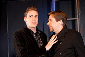Pictured left to right: Caleb Draper as Ben and Bill Fahrner* as Mark in Stephen Sondheim's Marry Me A Little, a musical comedy with music and lyrics by Stephen Sondheim; directed by John Fisher. A Theatre Rhinoceros Production at the Eureka Theatre. Photo by Kent Taylor.