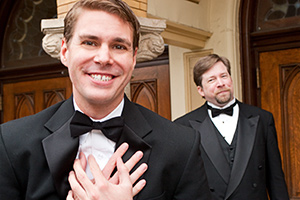 Pictured left to right: Caleb Draper as Mark and Bill Fahrner as Ben in Stephen Sondheim's MARRY ME A LITTLE, a musical comedy with music and lyrics by Stephen Sondheim; directed by John Fisher. A Theatre Rhinoceros Production at the Eureka Theatre.
