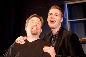 Pictured left to right: Bill Fahrner* as Mark and Caleb Draper as Ben in Stephen Sondheim's Marry Me A Little, a musical comedy with music and lyrics by Stephen Sondheim; directed by John Fisher. A Theatre Rhinoceros Production at the Eureka Theatre. Photo by Kent Taylor.
