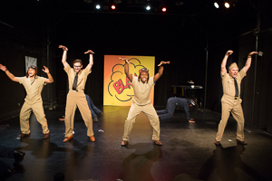 Pictured left to right: Justin Lucas as Hank, JD Scalzo as Spru, Paul Renolis as Frank and Donald Currie as Nim in The Battle of Midway! Live! Onstage! by John Fisher and Don Seaver. A Theatre Rhinoceros Production at The Costume Shop. Photo by David Wilson.