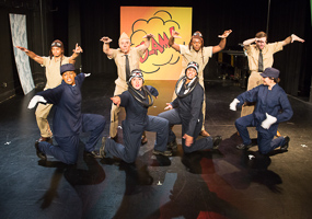 Pictured left to right: Justin Lucas as Hank, Daile Mitchum as Yammy, Donald Currie as Nim, Kirsten Peacock as Hiro, Naomi Evans as Shigeru, Paul Renolis as Frank, JD Scalzo as Spru, and Katina Letheule as Naggy in The Battle of Midway! Live! Onstage! by John Fisher and Don Seaver. A Theatre Rhinoceros Production at The Costume Shop. Photo by David Wilson.