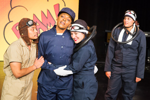 Pictured left to right: Justin Lucas as Hank, Daile Mitchum as Yammy, Kirsten Peacock as Hiro, and Naomi Evans as Shigeru in The Battle of Midway! Live! Onstage! by John Fisher and Don Seaver. A Theatre Rhinoceros Production at The Costume Shop. Photo by David Wilson.