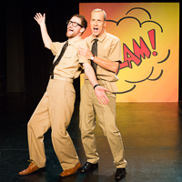 Pictured left to right: JD Scalzo as Spru and John Fisher as Fletch in The Battle of Midway! Live! Onstage! by John Fisher and Don Seaver. A Theatre Rhinoceros Production at The Costume Shop. Photo by David Wilson.