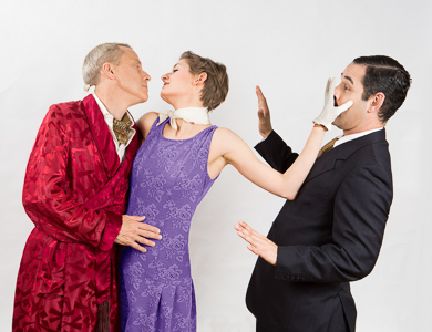 Pictured left to right: John Fisher as Garry, Adrienne Dolan as Daphne, and Carlos Barrera as Henry in Noël Coward's PRESENT LAUGHTER, A Theatre Rhinoceros Production at The Eureka Theatre Photo by David Wilson.