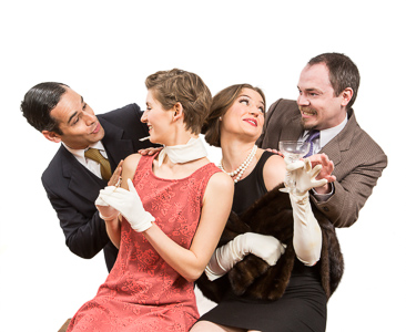 Pictured left to right: Carlos Barrera as Henry, Adrienne Dolan as Daphne, Amanda Farbstein as Joanna, and Adam Simpson as Morris in Noël Coward's PRESENT LAUGHTER, A Theatre Rhinoceros Production at The Eureka Theatre Photo by David Wilson.