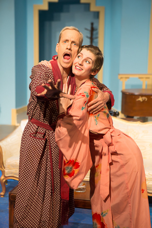 Pictured left to right: John Fisher as Garry and Adrienne Dolan as Daphne in Noël Coward's PRESENT LAUGHTER, A Theatre Rhinoceros Production at The Eureka Theatre, Photo by David Wilson.