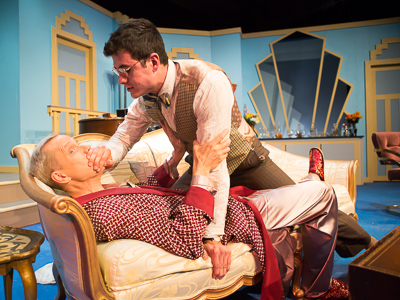 Pictured left to right: John Fisher as Garry and Marvin Peterle Rocha as Roland in Noël Coward's PRESENT LAUGHTER, A Theatre Rhinoceros Production at The Eureka Theatre, Photo by David Wilson.