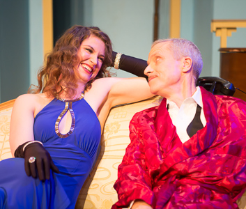 Pictured left to right: Amanda Farbstein as Joanna and John Fisher as Garry in Noël Coward's PRESENT LAUGHTER, A Theatre Rhinoceros Production at The Eureka Theatre, Photo by David Wilson.