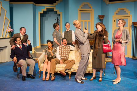 Pictured left to right: Carlos Barrera as Henry, Adam Simpson as Morris, Tina D'Elia as Liz, Kathryn Wood as Monica, Marvin Peterle Rocha as Roland, Ryan Engstrom as Fred, John Fisher as Garry, Adrienne Krug as Lady Saltburn, and Adrienne Dolan as Daphne in Noël Coward's PRESENT LAUGHTER, A Theatre Rhinoceros Production at The Eureka Theatre, Photo by David Wilson