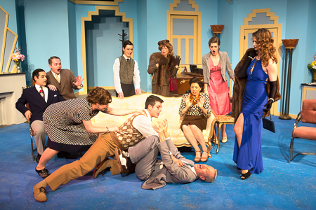Pictured left to right: Carlos Barrera as Henry, Adam Simpson as Morris, Kathryn Wood as Monica, Ryan Engstrom as Fred, Marvin Peterle Rocha as Roland, Adrienne Krug as Lady Saltburn, John Fisher as Garry, Tina D'Elia as Liz, Adrienne Dolan as Daphne, and Amanda Farbstein as Joanna in Noël Coward's PRESENT LAUGHTER, A Theatre Rhinoceros Production at The Eureka Theatre, Photo by David Wilson.
