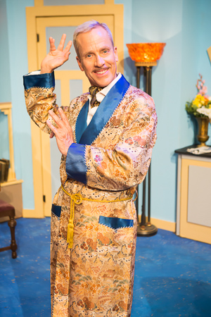 Pictured: John Fisher as Garry in Noël Coward's PRESENT LAUGHTER, A Theatre Rhinoceros Production at The Eureka Theatre, Photo by David Wilson.