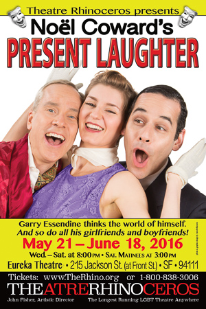 Present Laughter runs at Theatre Rhino May 21st - June 19th