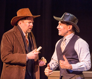 Pictured left to right: Bill Fahrner* as Addison Mizner and Rudy Guerrero* as Wilson Mizner in ROAD SHOW music and lyrics by Stephen Sondheim, book by John Weidman, directed by John Fisher, photo by David Wilson; A Theatre Rhinoceros Production at the Eureka Theatre. *Member Actors' Equity Association
