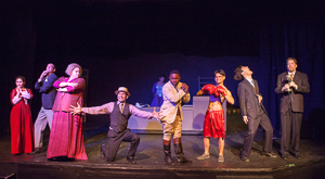 Pictured left to right: Kate McCarthy as Boca Girl, Kim Larsen as Armstrong, Sarah Young as Mrs. Yerkes, Rudy Guerrero* as Wilson Mizner, Kathryn Wood as Mama, Ae'Jay Mitchell as Jockey, Justin Lucas as Stanley Ketchel, Michael Doppe as Hollis Bessemer and Bill Fahrner* as Addison Mizner in ROAD SHOW music and lyrics by Stephen Sondheim, book by John Weidman, directed by John Fisher, photo by David Wilson; A Theatre Rhinoceros Production at the Eureka Theatre. *Member Actors' Equity Association.